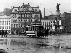 1885 Horses pull a streetcar down Woodward at Campus Martius,