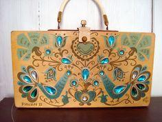 ON SALE - 1960's Vintage Enid Collins Box Purse with Peacocks - Pavan II. $125.00, via Etsy.