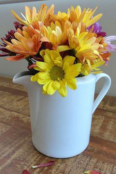 Arranjo Flores Crisantemo Leiteira A leiteira de porcelana pode enfeitar aquele aparador onde você coloca a saideira com petit-fours e cafezinho. Sem contar que fica linda como enfeite de mesa no café da manhã ou chá da tarde.
