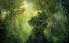 Forest Fantasy Wallpaper Fantasy landscape Landscape illustration Fantasy wall art