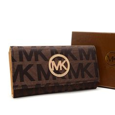 michael kors envelope logo large brown wallet