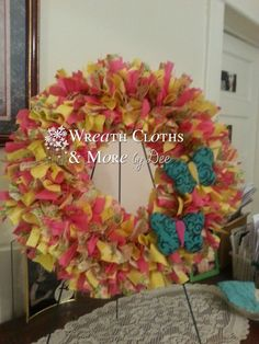 12 Summertime Butterfly Cloth Wreath by WreathClothsbyDee on Etsy, $17.00