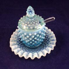 Superb, Scarce, Vintage (ca. Fenton Glassware, Condiment Sets, Blown Glass, Milk Glass, 1940s, Glass Art, Pots, Conditioner, Mint