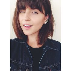 rima_rama's photo on Instagram - brunette bob hairstyle with layered bangs