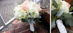 #weddingflowers #wedding #flowers #rose #peach #silver #lace #bouquet #hydrangeas