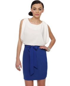 Color block, blue and white dress with tied bow at front