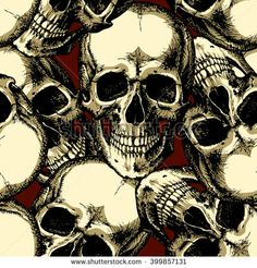 Skull on red background seamless pattern