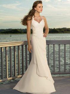 wedding designers - Trumpet/Mermaid Fully Lined Floor-length Ruching Halter Chiffon Wedding Dresses