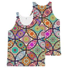 Floral mandalas creative circles art pattern All-Over print tank top