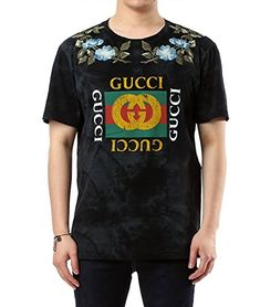 53c550579d8f Wiberlux Gucci Mens Floral Embroidery And Logo Print TShirt L Black * To  view further for this item, visit the image link. (This is an affiliate  link)