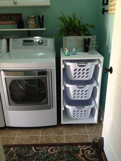 Laundry Storage, Laundry Room Diy, Trendy Bathroom, Diy Storage, Diy Laundry Basket, Room Storage Diy, Laundry Basket Shelves