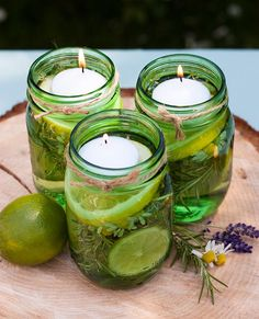 DIY: Summer Citronella Candles #outdoor #candle #centerpiece #party: