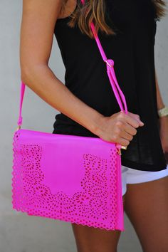 Bag To Differ Purse: Neon Pink. Such a different bag, love the detailing paired with the color makes it that much more adorable #shophopes