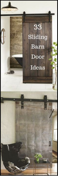 Sliding barn door design ideas for your home with mirror, window. Interior and exterior sliding barn door for your bathroom, bedroom, closet, living room. Diy Barn Door, Diy Door, Barn Door Hardware, The Doors, Sliding Doors, Garage Doors, Pantry Doors, Closet Doors, House Doors