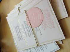Gold foil and warm gray letterpress calligraphy, combined with flat printing on watercolor paper. Www.juliesongink.com