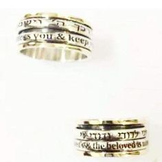 Personalized Hebrew  English Meditation Ring Beautiful spinner ring for woman Blessing  Love ring.
