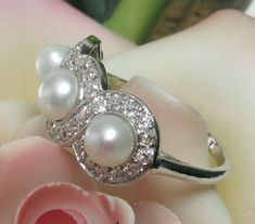RARE TIFFANY Antique Edwardian Platinum Pearl & Diamond Ring from divinefind on Ruby Lane