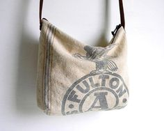 Grain Sack Slouch Hobo Messenger Bag by belrossa on Etsy, $60.00