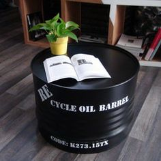 Giving new life to old oil barrels require creativity, and there are ways to recycle oil drum into beautiful furniture. The concept of oil drum furniture is a refreshing take on how modern interiors can be livened-up with such creative ideas. Oil Barrel, Metal Barrel, Barrel Furniture, Furniture Decor, Furniture Outlet, Cheap Furniture, Discount Furniture, Barrel Coffee Table, Coffee Tables