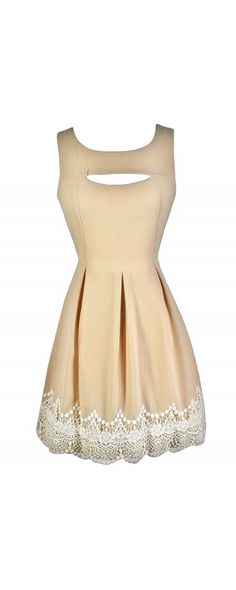 Ivory Lace Trim Cutout A-line Dress in Beige/Ivory  www.lilyboutique.com