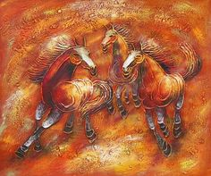 Oil Paintings - Wall Art finished in USAHistory: Wild Horses I is a hand finished canvas oil painting. 4206 and 4207 are a series of oil paintings of running horses. Happy and
