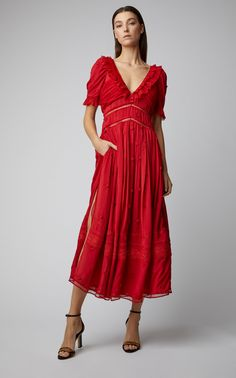 740d6f54e63 Plumetis Lace-Detailed Chiffon Midi Dress
