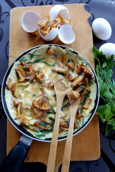 Chanterelle and chive omelette.