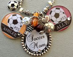 Soccer Mom Necklace PERSONALIZED sports jewelry inTeam Colors - Team Numbers, Soccer ball charm