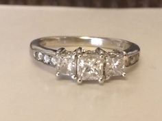 SI1 G Size 5.5 Estate 14k White Gold Princess Cut Diamond Ring Past Present Future .50 ct tw