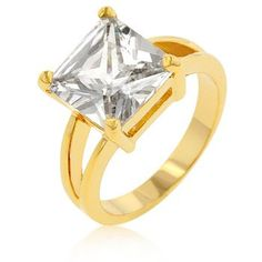 18k Gold Plated Princess Cut Clear Cubic Zirconia Solitaire Ring Polished into a Lustrous Goldtone Finish