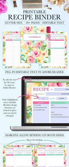 Printable Recipe Binder Kit - Personalized Family Recipe Binder - Recipe Pages - Recipe Organizer - Editable Text - Instant Download. Download, fill in the text in adobe reader, and print!