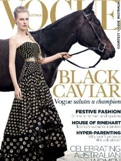 Finally a Vogue issue I could get interested in! Champion thoroughbred Black Caviar appears on the December issue of Vogue Australia. It is the first time in the 53-year history of the magazine that a horse has featured on the front cover.