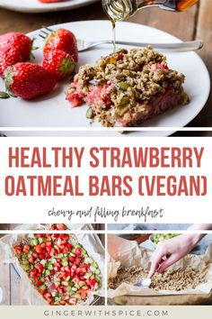 These strawberry rhubarb oatmeal bars are the perfect healthy and filling breakfast! Filled with fresh fruit, no refined sugar and they're naturally vegan. Rhubarb Oatmeal Bars, Easy Oatmeal Bars, Strawberry Oatmeal Bars, Vegan Oatmeal, Raw Food Recipes, Dinner Recipes, Cooking Recipes, Bar Recipes, Healthy Recipes