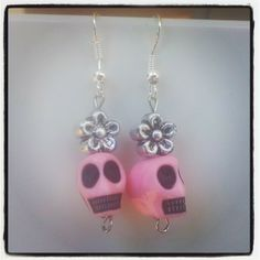 Pink Skull with bead Earrings $5 Aust. From Rags To Bags on FaceBook.