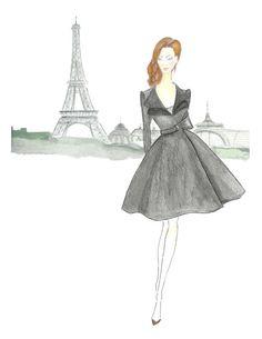Girl in Black Watercolor Fashion Illustration  Paris by Zoia