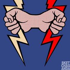 Lichtenstein's Lightening Bolt x 2 gif by Sketchaganda Roy Lichtenstein Pop art