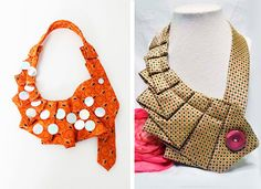 Collane realizzate con il riciclo delle cravatte | Necklaces made with upcycling men's ties • #tie #ties #DIY #recycle