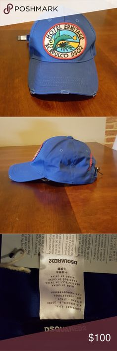 DSquared2 ACAPULCO DSQ2 Dad Hat Blue OS Unisex Brand New 100% Authentic DSquared2 cap RARE Color: Blue Size: One Size  Guarantee: 100% Authentic or Moneyback DSQUARED Accessories Hats