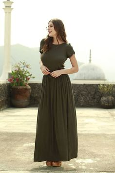 Forest T-Shirt Maxi Dress Green