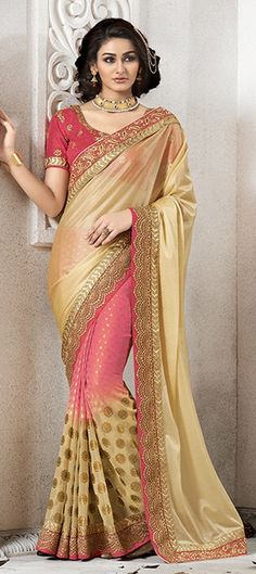 176398 Beige and Brown, Pink and Majenta  color family Embroidered Sarees, Party Wear Sarees in Faux Georgette, Jacquard fabric with Lace, Machine Embroidery, Thread work   with matching unstitched blouse.