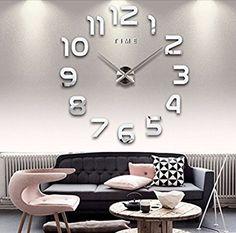 Asvert Grande Horloge Murale 3D DIY Design Moderne Métallique Décorations Numérique Acrylique pour Salon, Argent: Amazon.fr: Cuisine & Maison