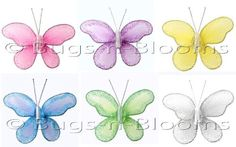 "2"" Assorted Mini (X-Small) Glitter Butterfly Butterflies 6pc set (Purple, Dark Pink (Fuchsia), Yellow, Blue, Green and White) - nylon nursery bedroom girls room ceiling wall decor, wedding birthday party baby bridal shower $5.95"