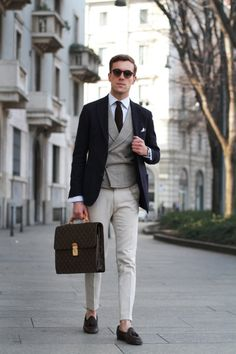Work, work, work. LV bag, navy blazer. Men's outfit