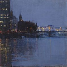 Andrew Gifford - Thames Study Towards Parliament, Rainy  - 2014  Oil on panel 15¼ x 15¼ ins (38.99 x 38.99 cms)