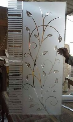 Iron Door Design, Etched Glass Door, Ceiling Design Living Room, Glass Etching Designs, Back Painted Glass, Balcony Glass Design, Door Glass Design, Window Glass Design, Room Door Design