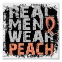 Uterine cancer awareness tee - real men wear peach to support endometrial uterine cancer