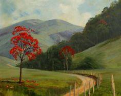 Estrada com árvores vermelhas