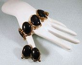 Vintage Crown Trifari Bolero 1950s Bracelet and Earrings with Black Cabochons