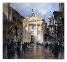 St. Christopher's - Siena by Thomas W. Schaller Watercolor ~ 18 inches x 18 inches