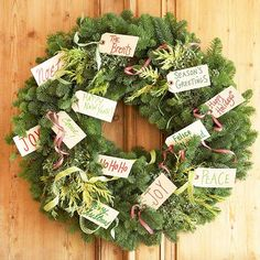 Gift Tag Wreath Greet guests with an outpouring of Christmas wishes. Write greetings on premade gift tags (available at crafts stores), place them on lengths of ribbon, and tie them to a wreath. Weave extra ribbon, light evergreen sprigs, and berry bunches to the wreath.